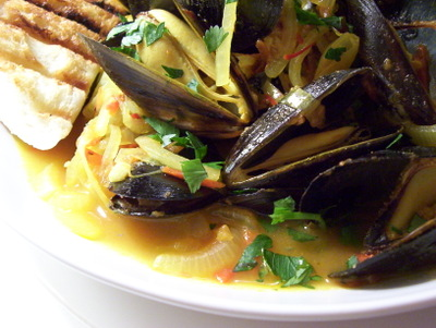 WELL FED: STEAMED MUSSELS WITH SAFFRON & TOMATO